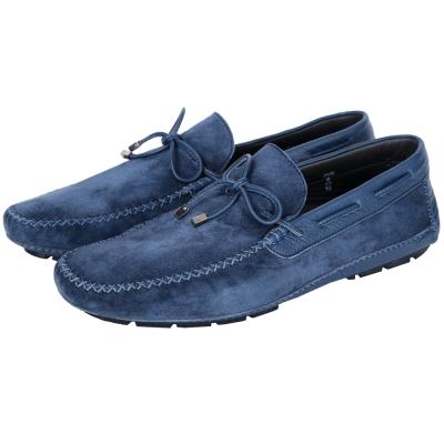 MORESCHI 麂皮拼接綁帶樂福鞋(藍色)