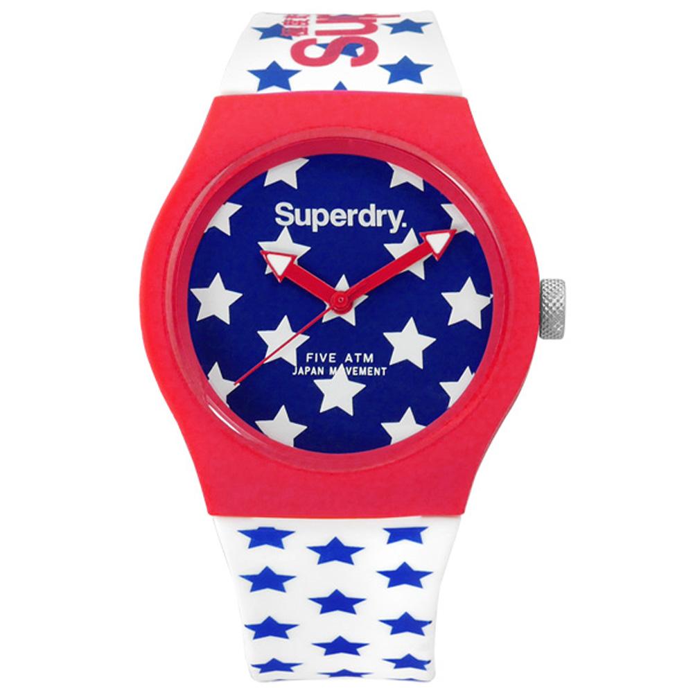 Superdry 極度乾燥 經典美式風格矽膠腕錶-藍x紅框x白/38mm
