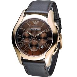 EMPORIO ARMANI Classic 羅馬假期計時腕錶-咖啡色/44mm