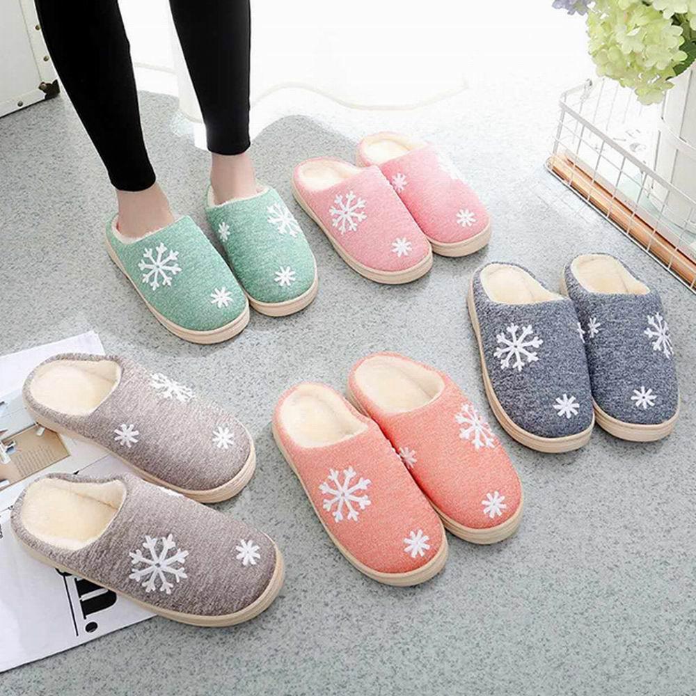 iSFun 冬戀雪花 男女刷毛保暖室內拖鞋 多色可選