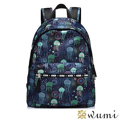 WuMi 無米 繽紛水母絲印後背包 深海藍