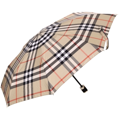 BURBERRY 經典格紋摺疊傘(駝色)