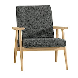 品家居 巴澤爾棉麻布實木單人沙發椅-65x71x84cm-免組
