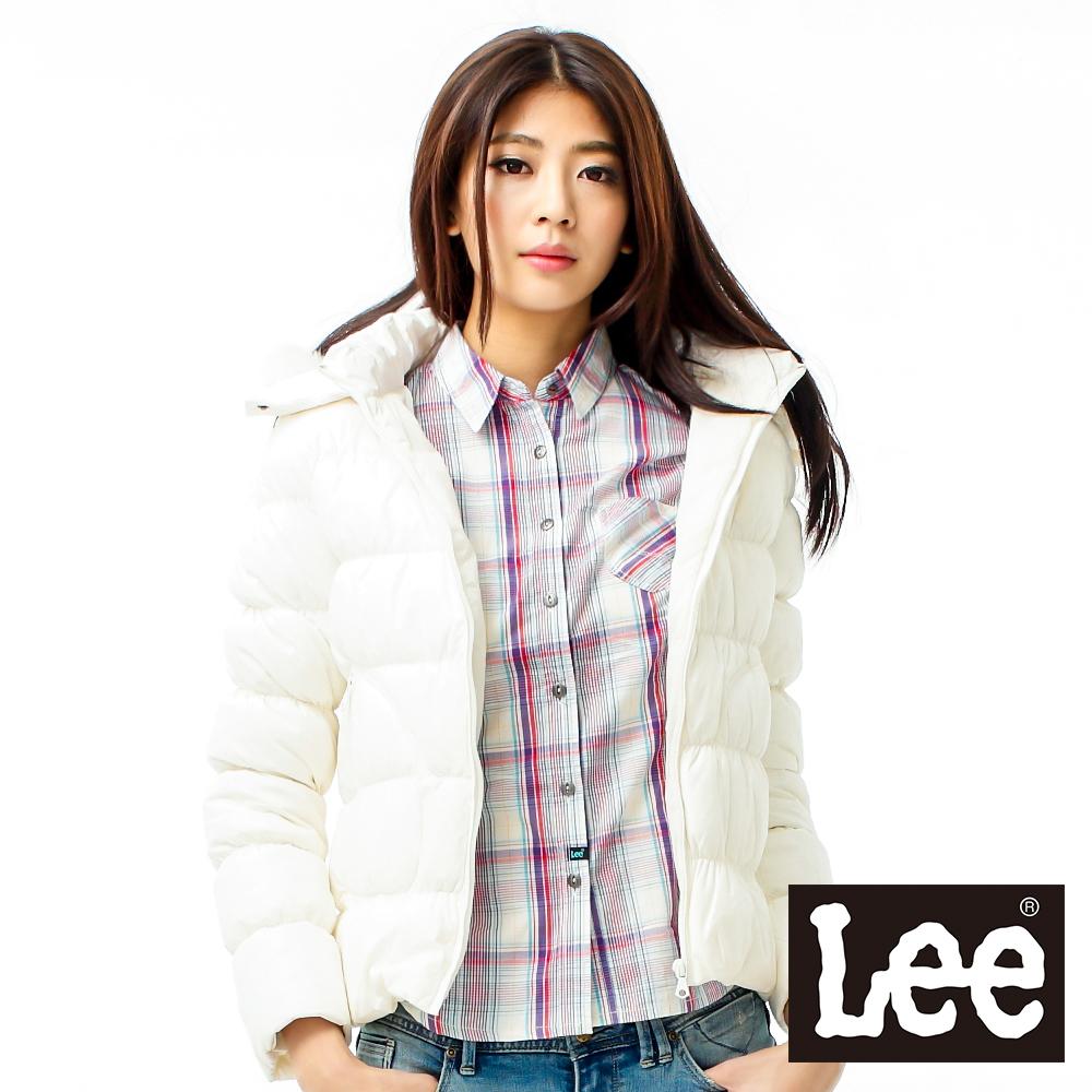 Lee 保暖外套 連帽羽絨 -女款(米白)