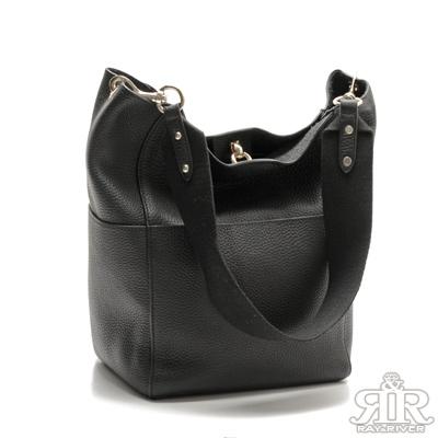 2R-頭層牛皮width寬肩口袋包-百搭黑