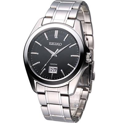 SEIKO 爵士品味時尚紳士腕錶(SUR009P1)-黑/40mm