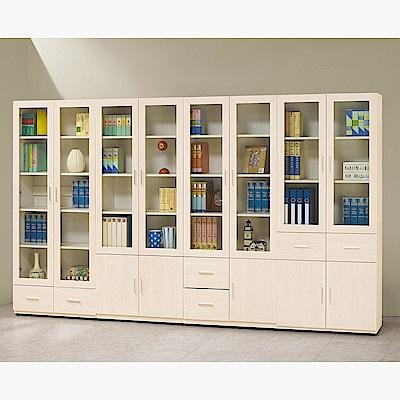 H&D 雪杉白10.4尺書櫥組 (寬318X深32.2X高184.5cm)