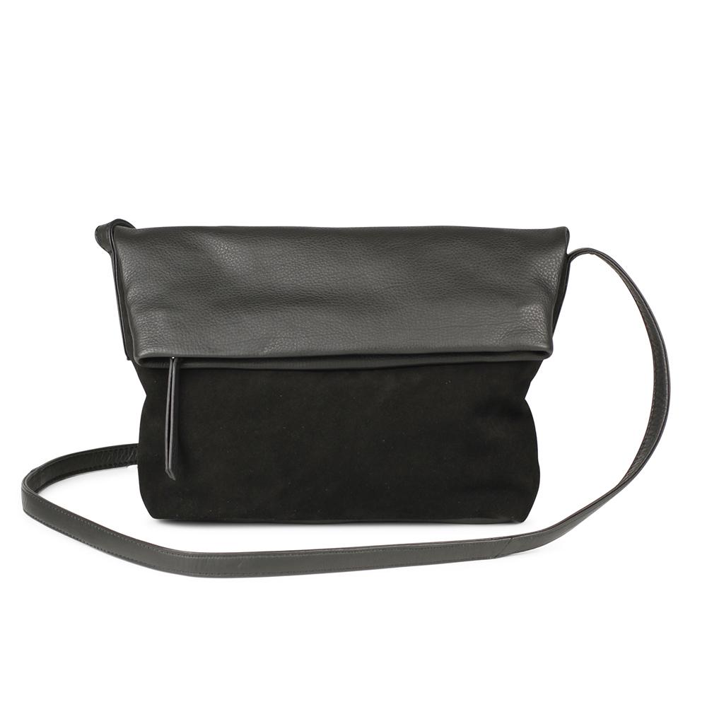 MARKBERG Cari 丹麥手工牛皮時尚反折肩揹包 斜背包/側揹包(個性絨黑)