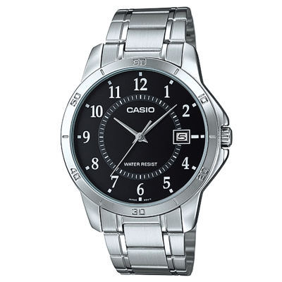 CASIO 經典復古時尚簡約指針紳士日曆腕錶-黑色(MTP-V004D-1B)/40mm