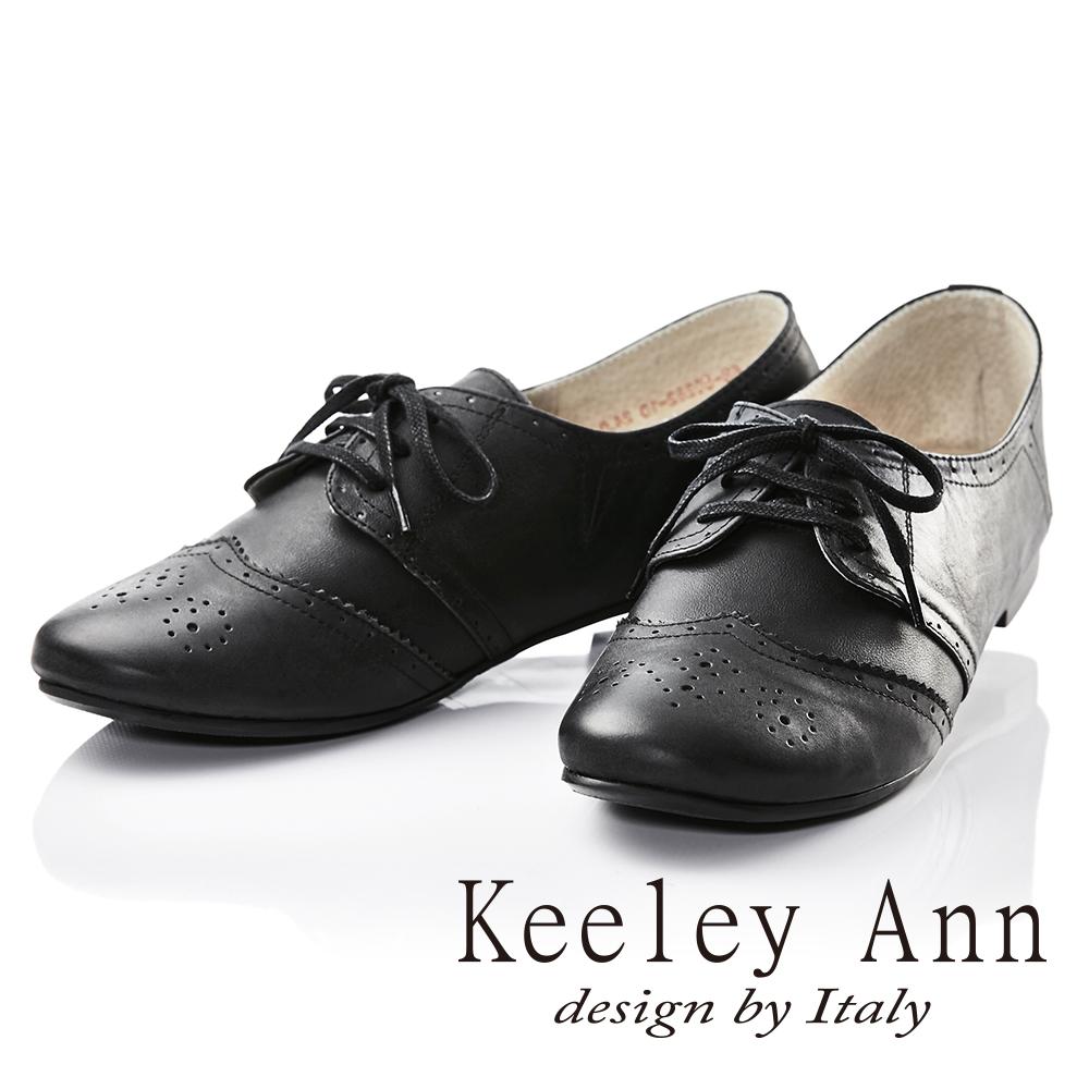 Keeley Ann學院物語~真皮經典雕花低跟牛津鞋(黑色)