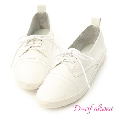 D+AF 舒適女孩.超軟皮革綁帶牛津小白鞋*白
