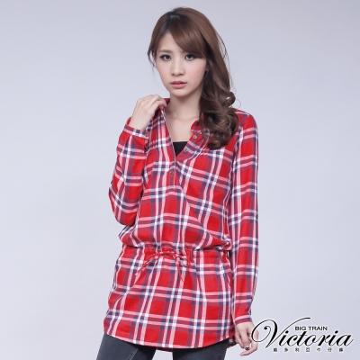 Victoria-格紋長版長袖襯衫-女-紅格