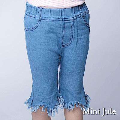 Mini Jule 童裝-短褲 流蘇造型後雙口袋短褲(淺藍)
