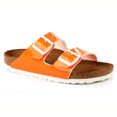 勃肯BIRKENSTOCK 057563。亞利桑那 經典二條拖鞋(亮面橙色)