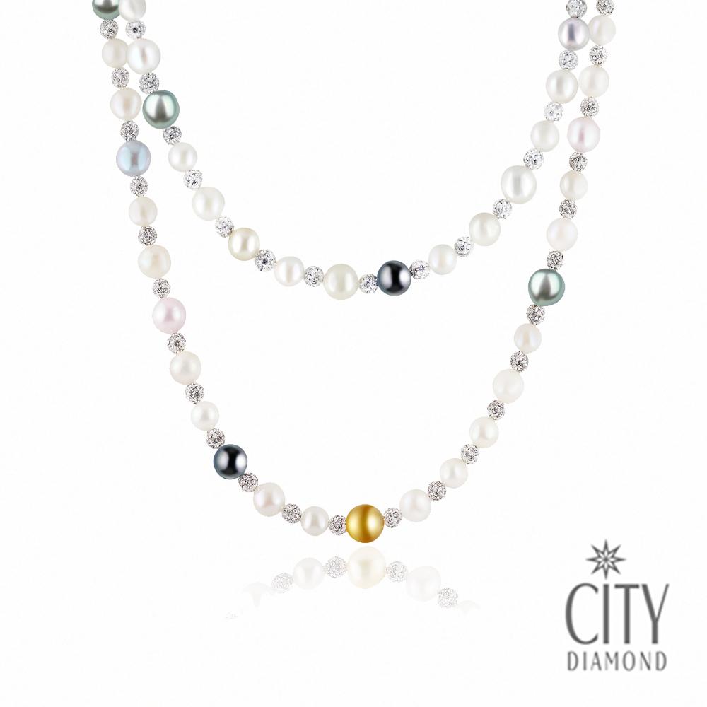 City Diamond引雅【海洋物語】大溪地黑/金珍珠.日本AKOYA粉珠版長項鍊