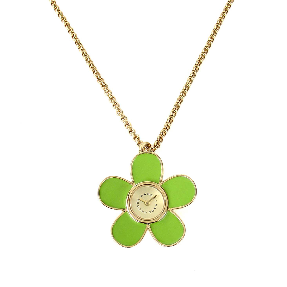 MARC JACOBS 清新花朵造型金屬鏈錶-綠