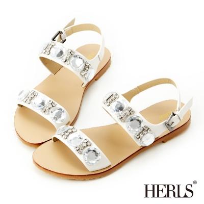 HERLS-女神款璀璨寶石涼鞋-白色
