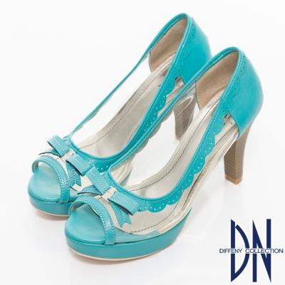 DN-沁涼夏季-MIT透明裸肌魚口高跟鞋-藍