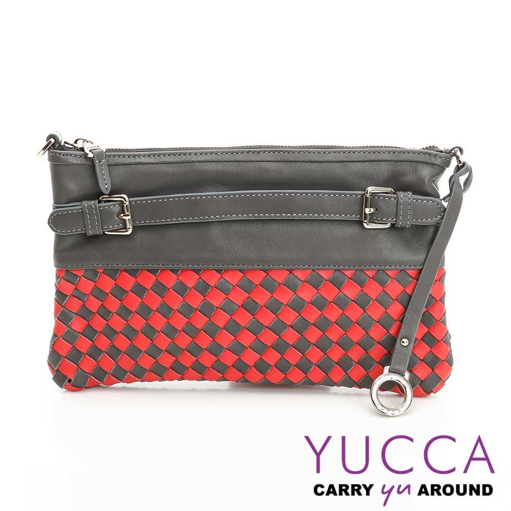 YUCCA -牛皮手工編織雙色手拿/斜背包- 灰色- E6013133C45
