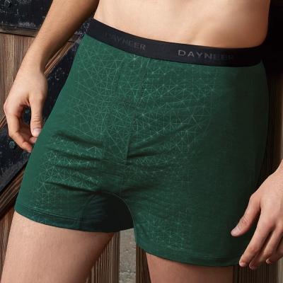 DAYNEER 寬鬆舒活 簡約幾何印花四角內褲(深邃綠)