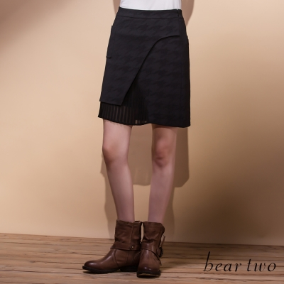 beartwo雪紡拼接千鳥格提織造型短裙(共兩色)