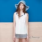 OUWEY歐薇 學院風配色無袖襯衫(白)
