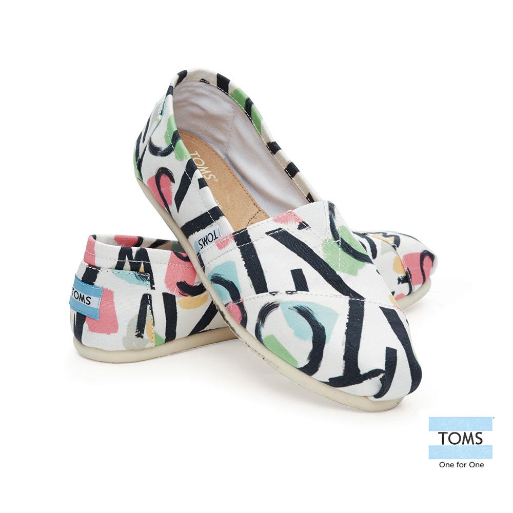 TOMS 經典塗鴉彩繪懶人鞋-女款(白)