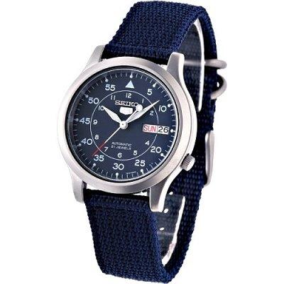 SEIKO第二代軍用帆布機械錶(SNK807K2)-軍藍色