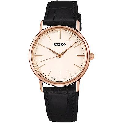 SEIKO 精工 城市熱愛 簡約三針設計女錶(SCXP086J)-米黑/33mm