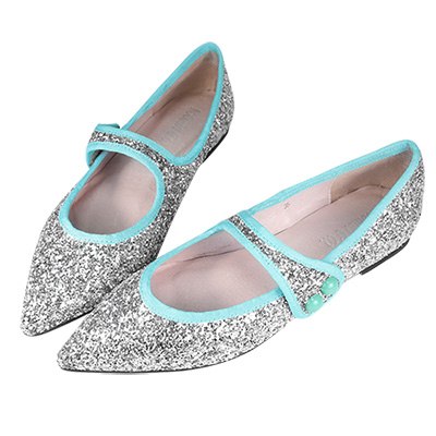 Robinlo&Co. 金屬感格麗特真皮尖頭平底鞋 銀