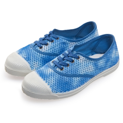(女)Natural World 西班牙休閒鞋 暈染網狀4孔基本款*藍白