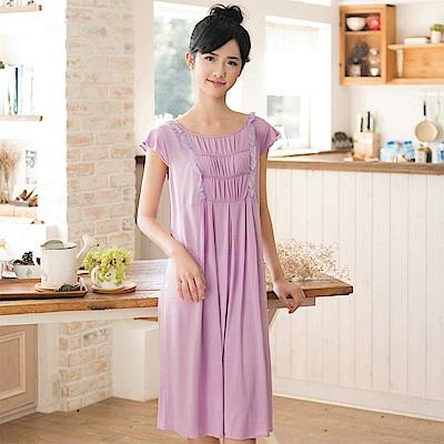 華歌爾 冰涼紗 居家休閒 M-L 短袖睡衣裙裝(紫)-舒適睡衣-柔膚手感