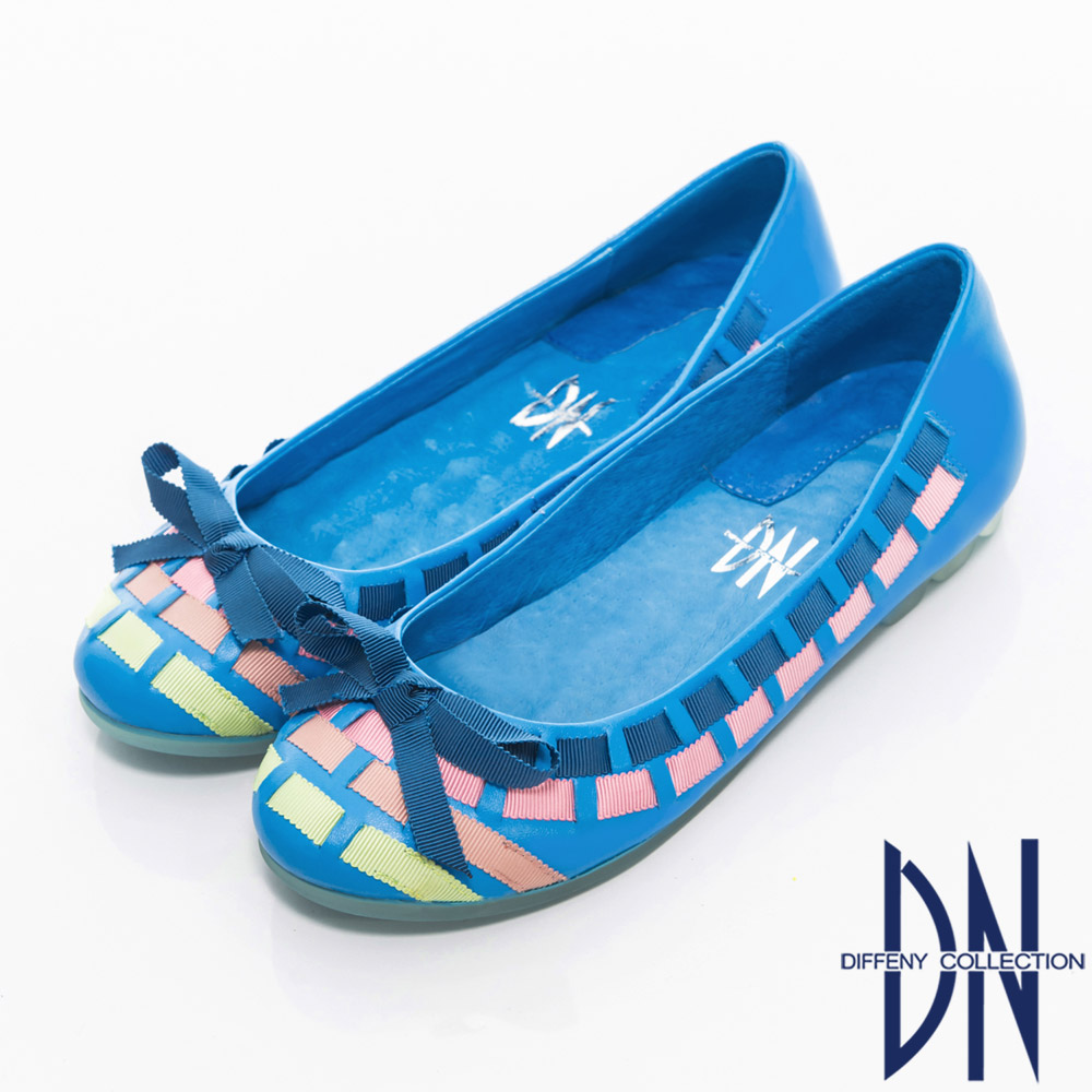 DN 甜美名媛 繽紛緞帶拼接真皮娃娃鞋 藍 @ Y!購物