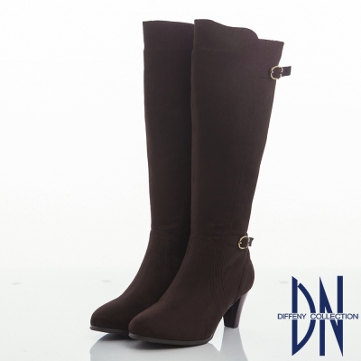 DN 名媛風潮 百搭顯瘦麂皮絨粗跟長靴-咖