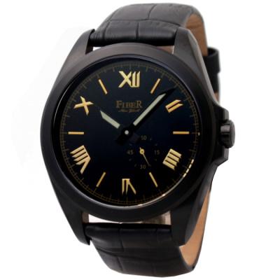 FIBER 法柏偏心小秒針自動機械腕錶-IP黑/42mm