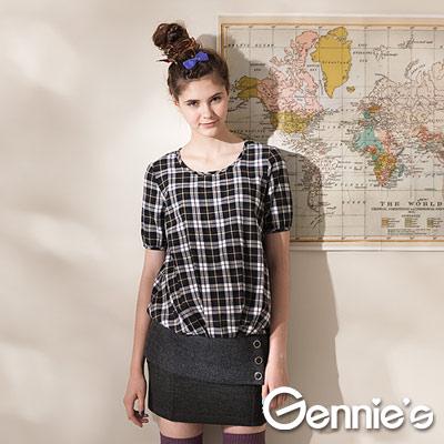 【Gennie's奇妮】休閒實穿格紋棉質秋冬孕婦 長版上衣-咖(G3405)