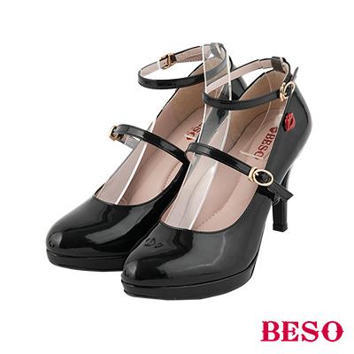 BESO優雅女伶 3ways穿法經典瑪莉珍繫帶跟鞋~黑