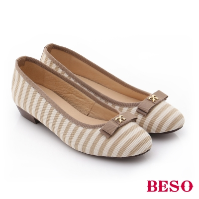 BESO-翻玩時尚生活-真皮軟棉防滑低跟鞋-米色