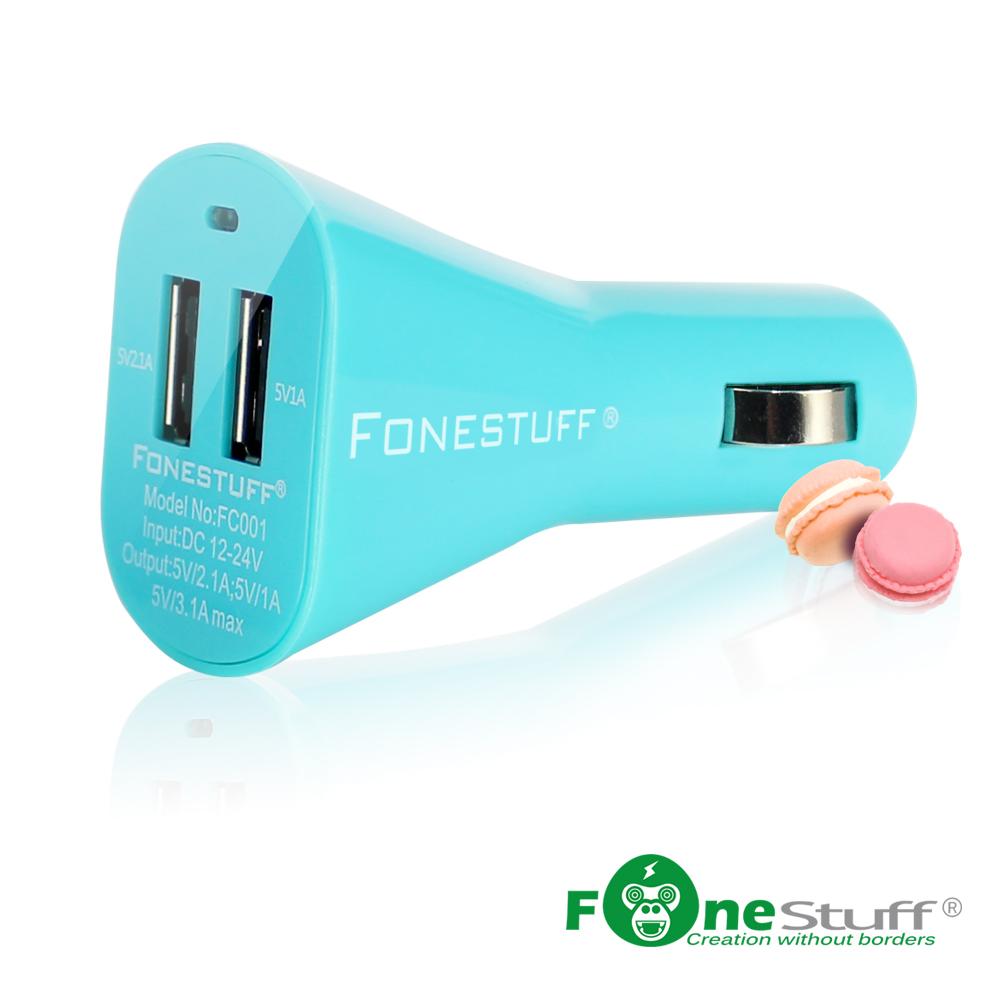★Fonestuff瘋金剛 5V/3.1A雙USB車充-Tiffany藍