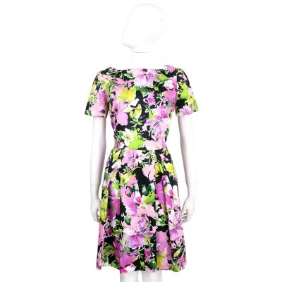 BLUGIRL 黑彩印花渲彩花朵棉質短袖洋裝