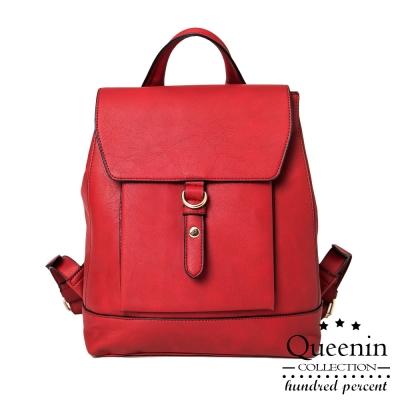 (活動)DF Queenin日韓 - 任意依戀韓劇同款仿皮後背包-紅色