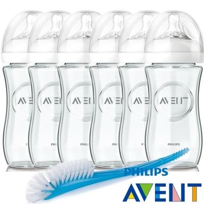 PHILIPS AVENT 親乳感玻璃奶瓶240ml超值6入裝+贈奶瓶刷乙支