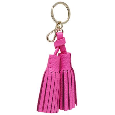 Kate spade 牛皮雙流蘇鑰匙圈/掛飾-鬱金香粉