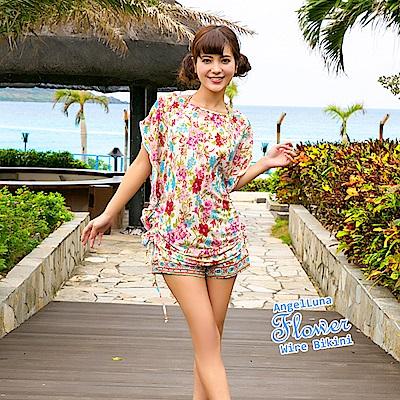 【AngelLuna日本泳裝】度假風情四件式比基尼泳衣-米色一字領
