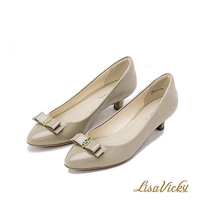 LisaVicky 通勤必備蝴蝶結低跟鞋-芋褐色