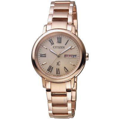 CITIZEN 星辰 xC系列自信魅力光動能腕錶(EW2422-5)-玫瑰金/32.5mm