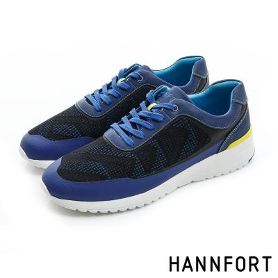 HANNFORT RS8格紋網布氣墊休閒鞋-男-潮流藍