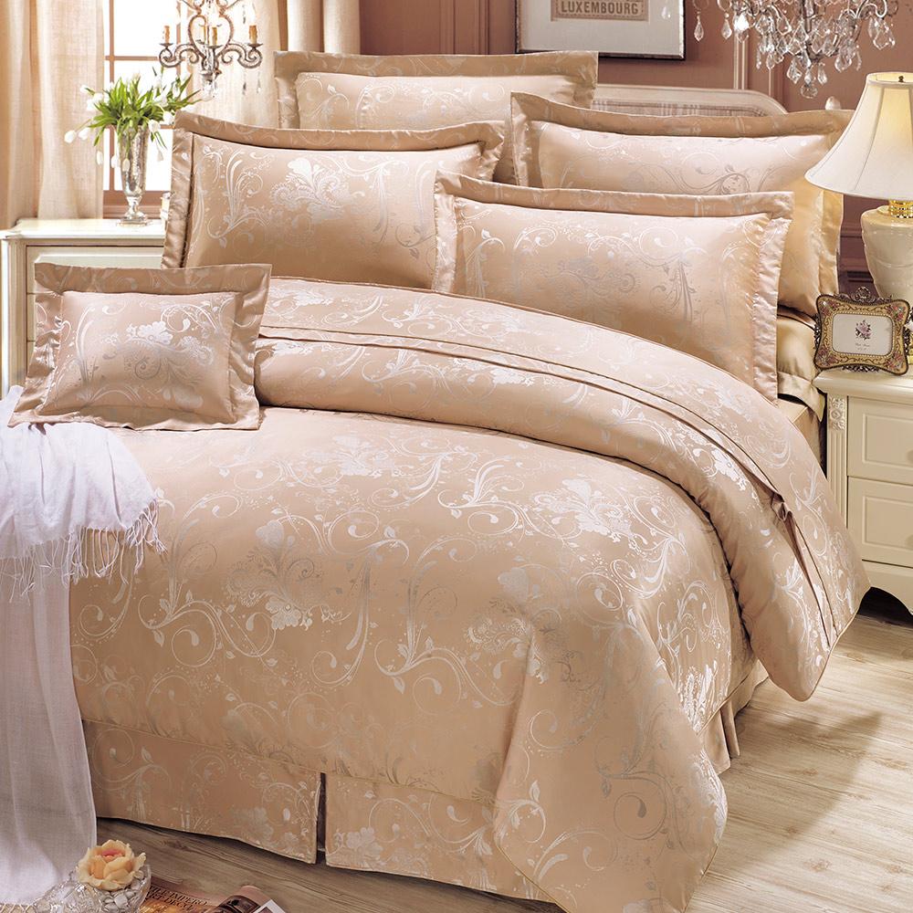鴻宇HongYew 銅氨絲緹花-薇多利亞 雙人七件式兩用被床罩組