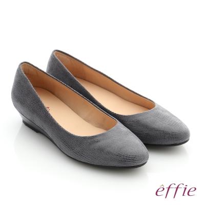 effie 職場通勤 羊絨低跟素面包頭鞋 深灰色