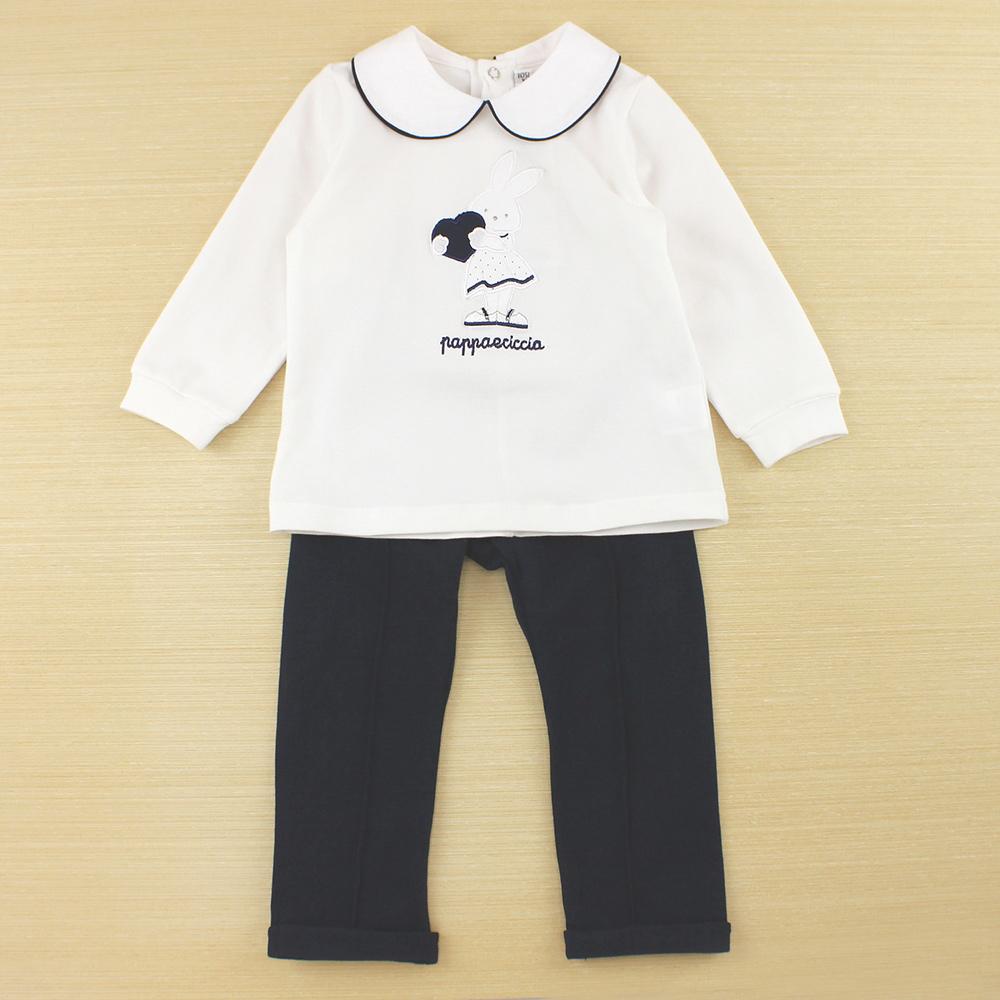 愛的世界 pappa&ciccia 點點小兔娃娃領長袖套裝/1~4歲